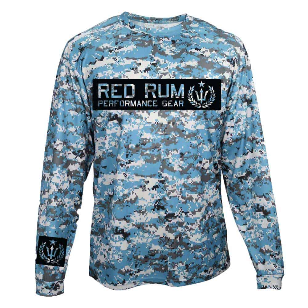 Red rum international tropical dive fish surf for Camo fishing shirt