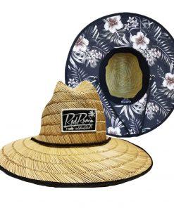 Island straw hats with flower print