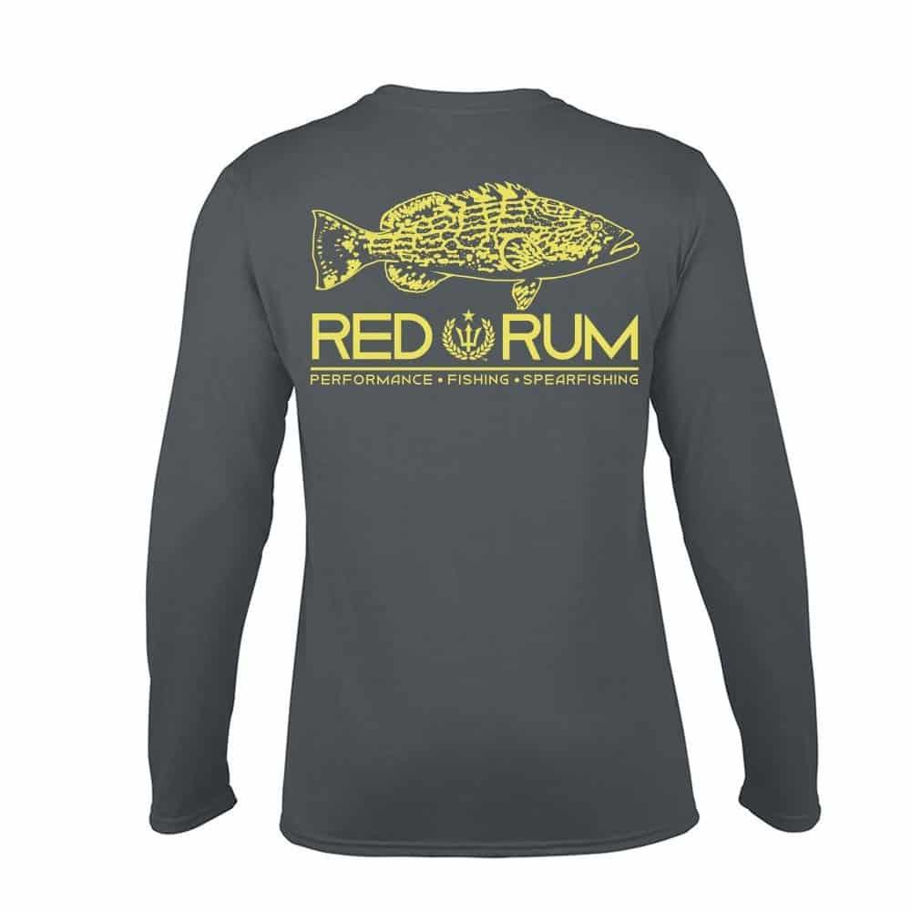 Ruler sleeve fishing shirt 2 0 grouper red rum fishing for Fishing t shirts