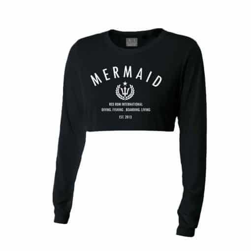 Mermaid Shirts Black Crop Top Rash Guard