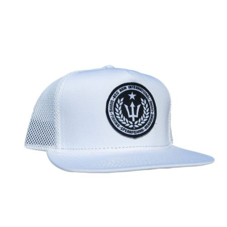 white mesh snapback fishing hat