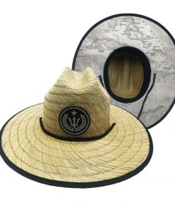 Straw hat with Map Print